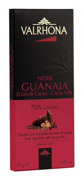 Valrhona Guanaja mit Kakaobohnensplittern, Dunkle Schokolade mit 70% Kakao